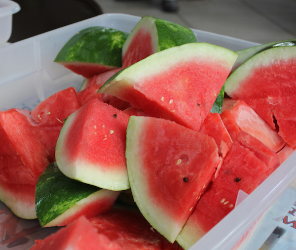 A cold slice of Georgia-grown watermelon is a natural snack for a hot summer day. University of Georgia food safety specialists say that once a melon is cut, either serve or refrigerate it immediately. The juicy surfaces of cut melons are great places for bacteria to multiply if conditions are warm.