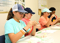 4-H students learn how to make a model of a cotton plant using candy.