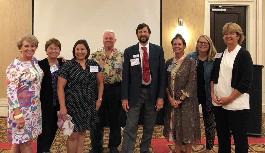 Founding members of the National Initiative for Consumer Horticulture include (l-r) Suzi McCoy (Garden Media Group), Ellen Bauske (University of Georgia), Gail Langellotto (Oregon State University) Tom Bewick (USDA-NIFA), Casey Scale (American Public Gardens Association) Pam Bennett (The Ohio State University), Julie Weisenhorn (Minnesota State University) and Debbie Hamrick (North Carolina Farm Bureau Federation).