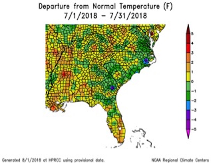 Temperatures across Georgia returned to normal in July; monthly average temperatures were within one degree of normal across the state.