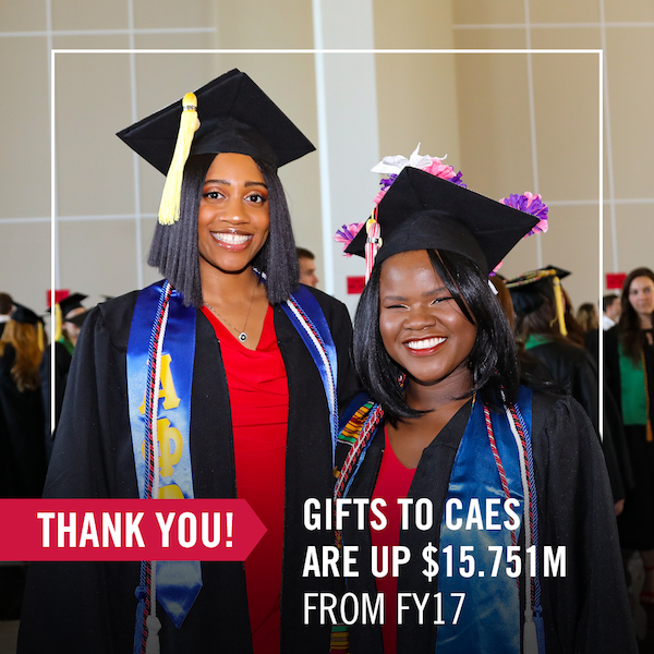 Gifts have a huge impact on CAES students. They fund CAES for Georgia Commitment Scholarships, need-based scholarships that are matched dollar-for-dollar by the UGA Foundation. These funds help to cover students' costs that may not be covered by other scholarships or grants, thereby removing students' financial barriers.