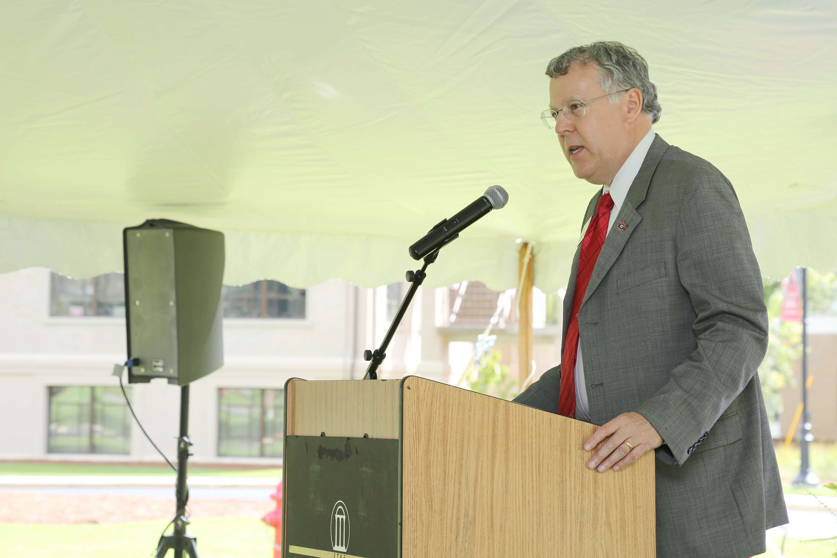 UGA CAES Dean Sam Pardue speaks at Centennial Kickoff event at UGA-Tifton. August 21, 2018