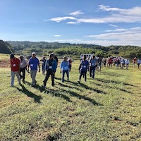 About 160 soybean scientists tour UGA's Iron Horse during the 2018 Soybean Breeders Tour.