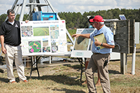 Calvin Perry, superintendent of SIRP, talks about irrigation during the Farm Tour on September 25, 2018.