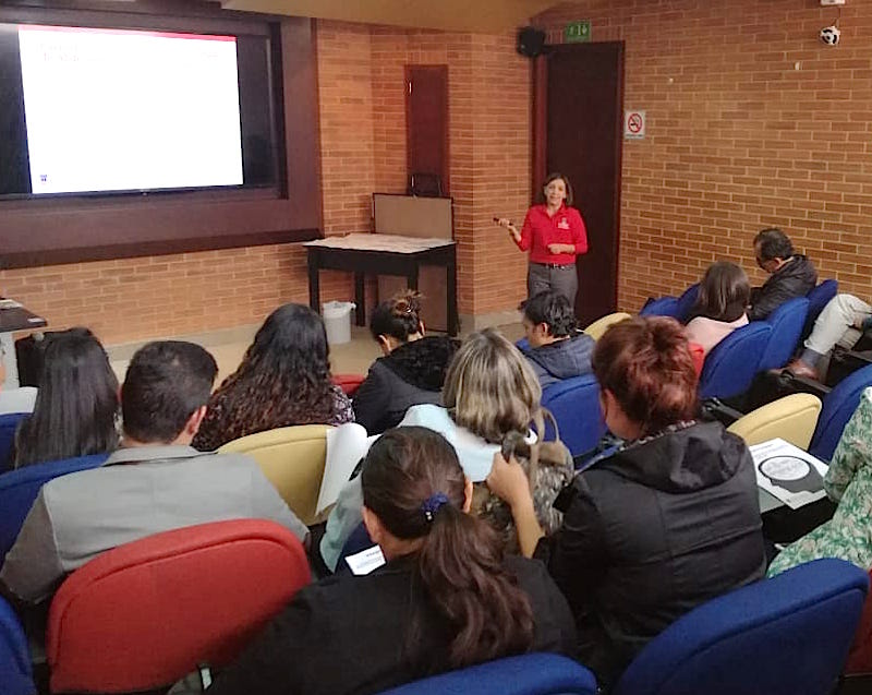 Ines Beltran spent the week of June 15, 2018, teaching UGA Extension's Healthy Brain program, which she developed, to more than 220 Colombian occupational health and psychology students. University Corporation God's Minute's distance education program would like Beltran to teach more programs virtually from Georgia.