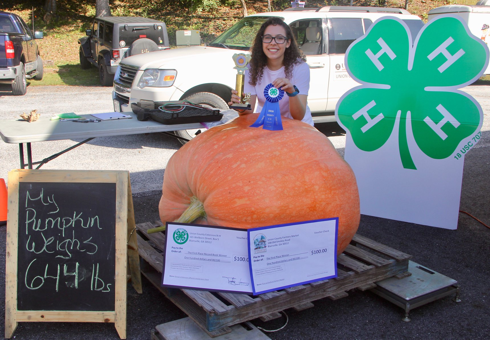 Jessie Holbrook of Union County, who submitted a pumpkin weighing 644 pounds, took first place in the Georgia 4-H pumpkin-growing contest this year.