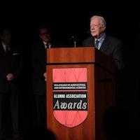 Former President of the United States Jimmy Carter addresses the crowd at the University of Georgia College of Agricultural and Environmental Sciences Alumni Association Awards on Nov. 9, 2018, at UGA.