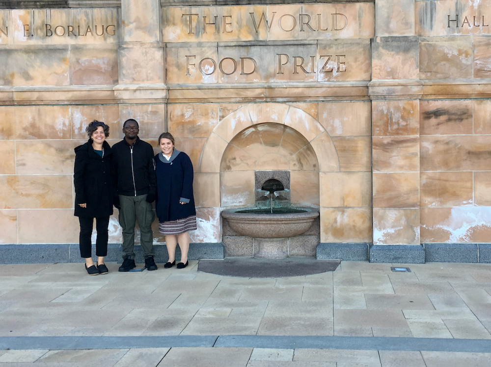 CAES Office of Global Programs Associate Director Vicki McMaken, CAES doctoral candidate Davis Musia Gimode and CAES undergraduate Sara Reeves attended this year's World Food Prize symposium in Des Moines, Iowa.