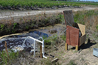 """Gary Hawkins, a CAES scientist who specializes in water resource management, is part of a project called """"Drainage Design and Management Practices to Improve Water Quality."""" Pictured is water coming from drain tiles and sampling equipment next to it."""