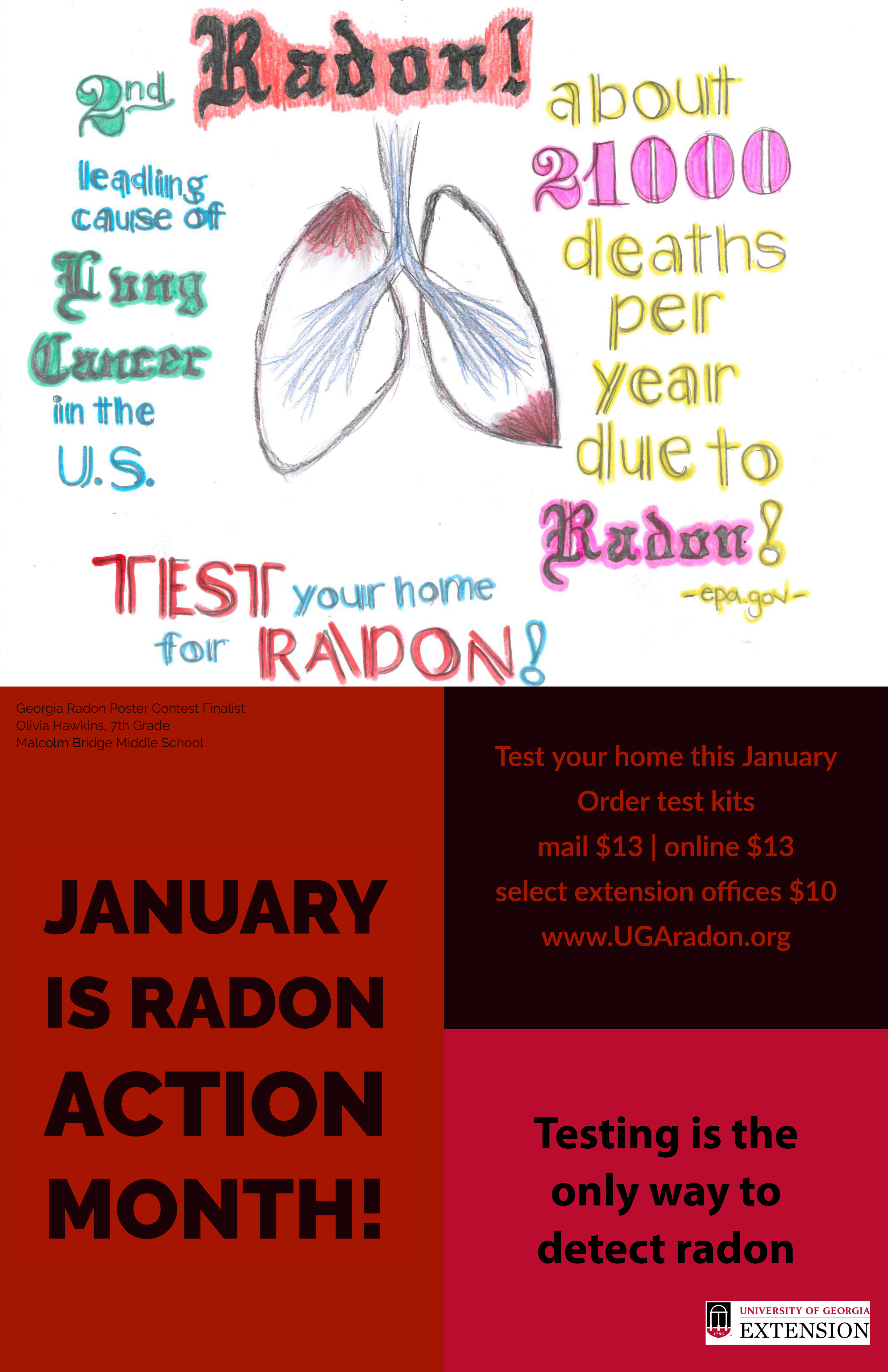 Olivia Hawkins, a seventh-grade student at Malcolm Bridge Middle School in Oconee County member from Athens, Georgia, was named a finalist in the 2019 UGA Extension Radon Education Program Poster Contest.