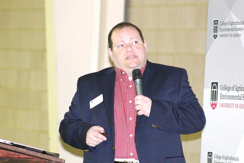 UGA's Adam Rabinowitz, peanut economist on the UGA Tifton campus, speaks during the 2018 Georgia Ag Forecast meeting in Bainbridge, Georgia.