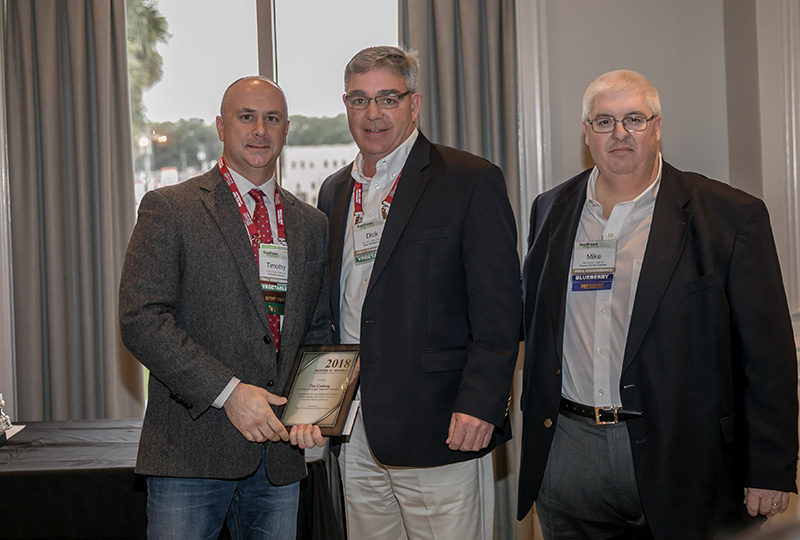 UGA's Tim Coolong was recognized at the Southeast Regional Fruit and Vegetable Conference on Saturday, January 12, 2019. Coolong received the Donnie H. Morris Award of Excellence in Extension.