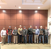 UGA recognized Georgia soybean producers for producing high yields during the 2018 growing season. Pictured are, from left, UGA East Georgia Extension Agronomist Mark Freeman, Clayton Bloodworth (Wilcox County), Keith Mickler (accepting for Nick McMichen, Floyd County), Mark and Haden Ariail (Franklin County), Russ and Dennis Moon (Madison County), Randy Dowdy (Lowndes County) and Andy Carter (Lowndes County Extension agent).