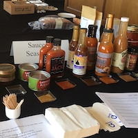 Products are lined up for their initial taste test for the University of Georgia's 2019 Flavor of Georgia Food Product Contest. The final round of judging will be held March 19 in Atlanta.