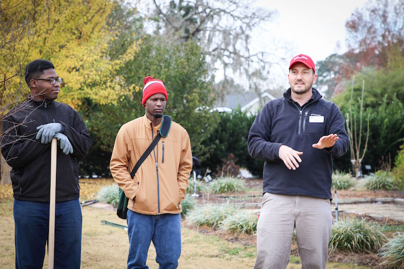 Greg Huber (right) is shown teaching a class at the University of Georgia Coastal Georgia Botanical Gardens. Participants attended a four-day training modeled after the Georgia Certified Landscape Professional (GCLP) program, which was developed by UGA Cooperative Extension's Center for Urban Agriculture in Griffin, Georgia. Huber leads the GCLP program.