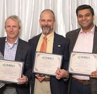 University of Georgia Professors Scott Jackson, Dean Pringle and Manpreet Singh, recently graduated from LEAD21, a leadership-development program designed for land-grant university professionals. Pictured left to right at the graduation ceremony in Alexandria, Virginia, are Susan Sumner, board chair of LEAD21, Joe Broder, coordinator of LEAD21 faculty activities at UGA, Laura Perry Johnson, UGA associate dean of Extension, Jackson, Pringle, Singh and Brian Kowalkowski, LEAD21 program chair.