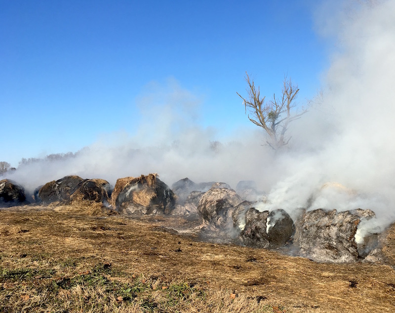 Poultry litter is a valuable by-product for farmers and is used as a soil amendment and fertilizer. But stored improperly, it can create barn fires like the one that destroyed this farmer's hay.