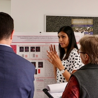 A fourth-year student in the Department of Animal and Dairy Science, Sowmya Radhakrishnan presents her research poster at the 2019 College of Agricultural and Environmental Sciences Undergraduate Research Symposium.