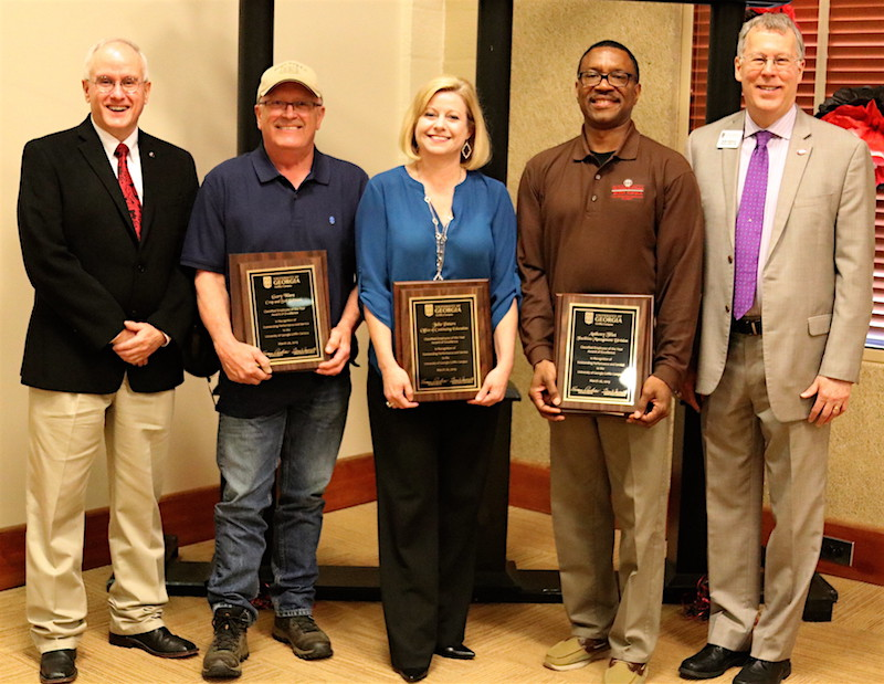 Anthony Flint, Julie Peters and Gary Ware were honored as the UGA Griffin campus 2019 Classified Employees of the Year during the annual Classified Employee Recognition Ceremony held March 26. Pictured (from left) during the awards ceremony are Lew Hunnicutt, assistant provost and director at UGA-Griffin, Ware, Peters, Flint and Sam Pardue, dean and director of the UGA College of Agricultural and Environmental Sciences.