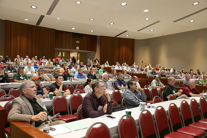 The crowd listens during the 2018 turf conference at the UGA Tifton campus. The 73rd annual Southeastern Turfgrass Conference is set for April 25 at UGA-Tifton.