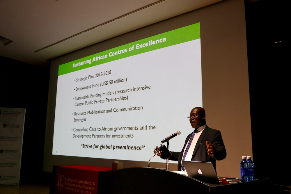 Eric Danquah, a plant breeder who founded the West Africa Centre from Crop Improvement at the University of Ghana explains the center's mission at the UGA College of Agricultural and Environmental Sciences International Agriculture Day celebration on April 17, 2019.