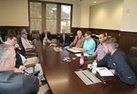 UGA scientists and members of various commodity commissions met with FCC Commissioner Brendan Carr and Reps. Buddy Carter and Austin Scott at UGA-Tifton on April 17 to discuss broadband internet access for rural farmers.