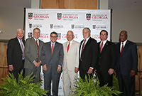 A group photo of the speakers at the UGA-Tifton centennial celebration included, from left: USDA National Institute of Food and Agriculture Director Scott Angle, UGA CAES Dean Sam Pardue, UGA President Jere Morehead, Georgia Agriculture Commissioner Gary Black, UGA-Tifton Assistant Dean Joe West, Congressman Austin Scott (GA-08) and USDA Southeast Area Director Archie Tucker.