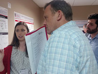 Forty-six people presented posters at the RBC Symposium held Friday, April 26. RBC Symposium Judge Simon Platt, BVM&S, a UGA professor of veterinary neurology, is shown with RBC poster presenter Katherine Watkins of the Easley Lab. View more images at https://adobe.ly/2vBPsxf.