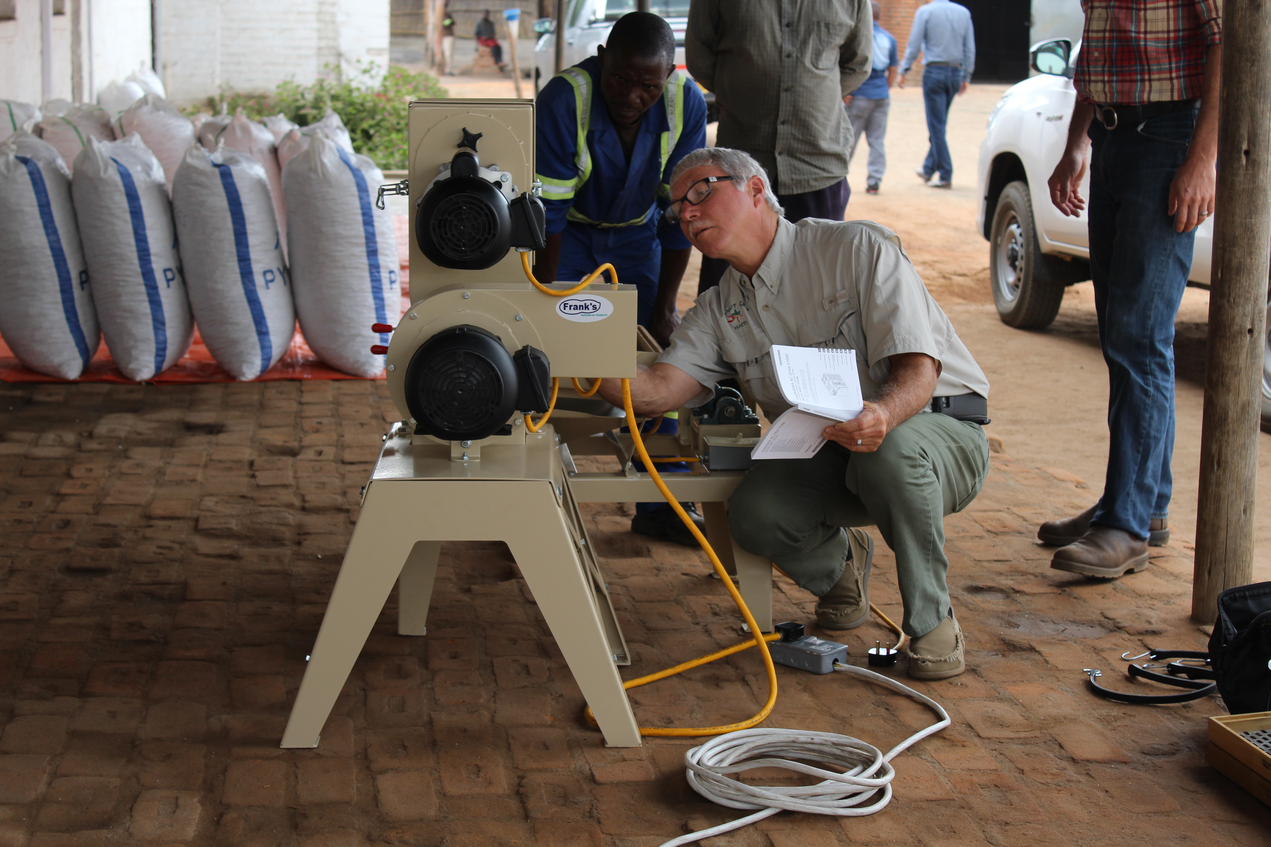 Frank Nolin, a retired businessman who manufactured agricultural equipment for Georgia farms, is designing and building small-scale equipment for Africa through the Feed the Future Peanut Innovation Lab at the University of Georgia.