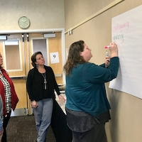 Georgia 4-H specialist Kasey Bozeman takes notes for her small group during a leadership institute that was part of the 2018-2019 UGA Extension Academy for Professional Excellence.