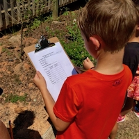 A student at New Mountain Hill Elementary School in Harris County practices counting pollinators in advance of the Great Georgia Pollinator Census, August 23-24. Georgians who want to join the count should sign up at the ggapc.org.