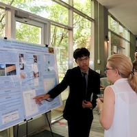 Christian Ona of Oconee County High School presents his research poster at the closing ceremonies of the UGA College of Agricultural and Environmental Sciences Young Scholars Program.