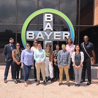 Andrew Crain, director of experiential professional development with the UGA Graduate School (far left), and Ron Walcott, associate dean of the UGA Graduate School, (far right), led UGA graduate students on an industry tour in St. Louis, Missouri, as part of UGA's annual Crop Protection Tour.