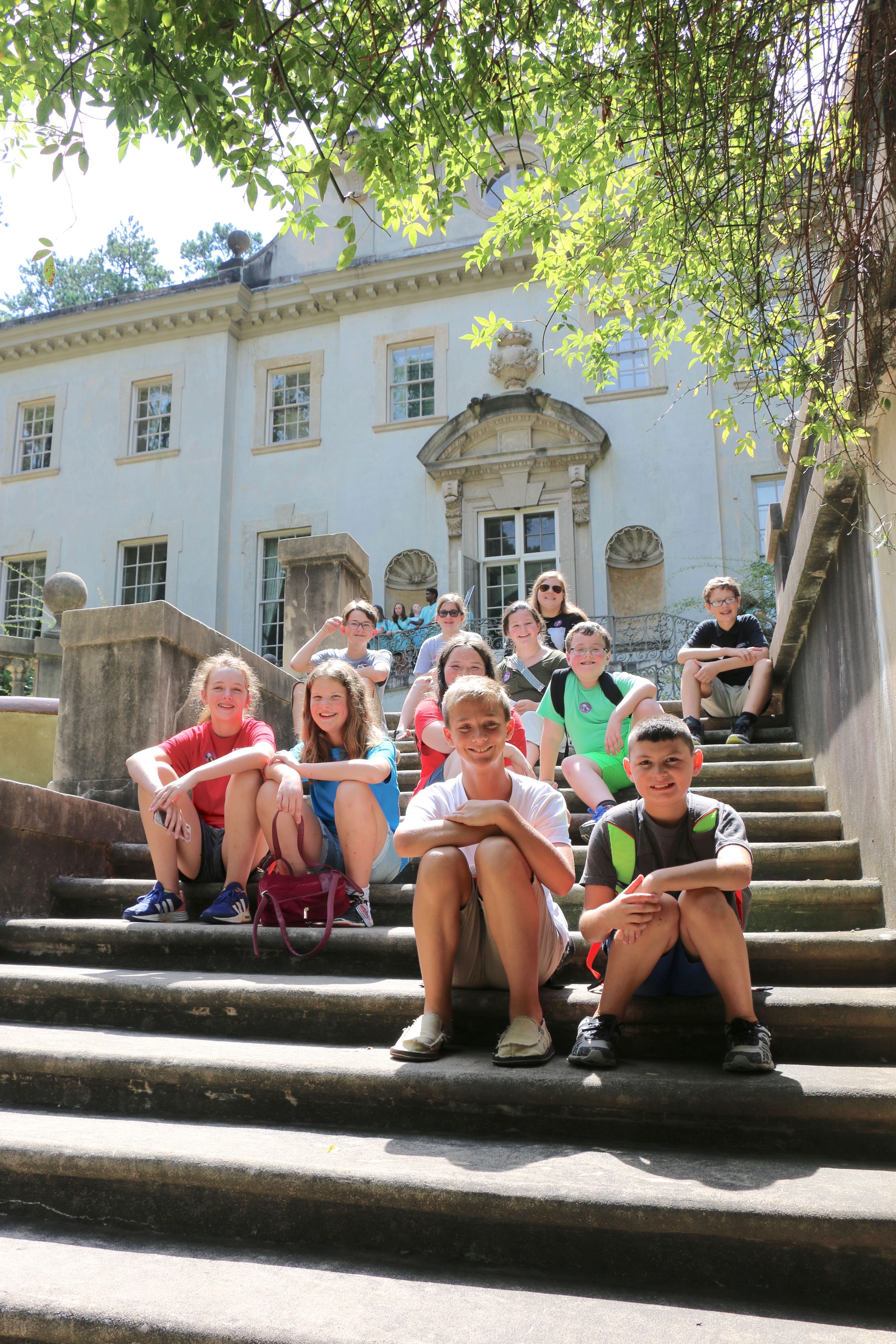 Georgia 4-H'ers take a break on the steps of the Swan House during 4-H Day at the Atlanta History Center.