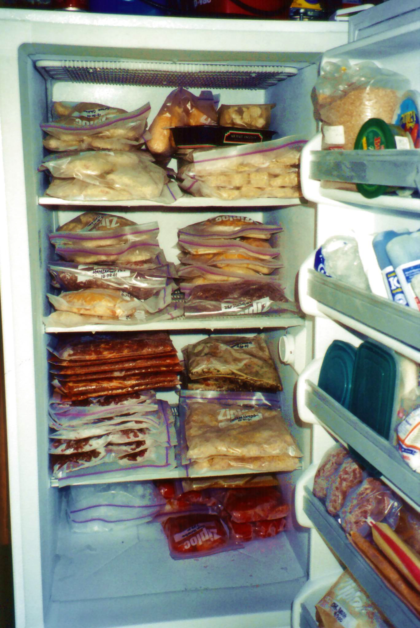If your freezer loses power, dispose of food that shows any sign of spoilage or if the freezer or food has reached more than 40 degrees. If you don't have a thermometer, refreeze only meat or poultry that still contains ice crystals.
