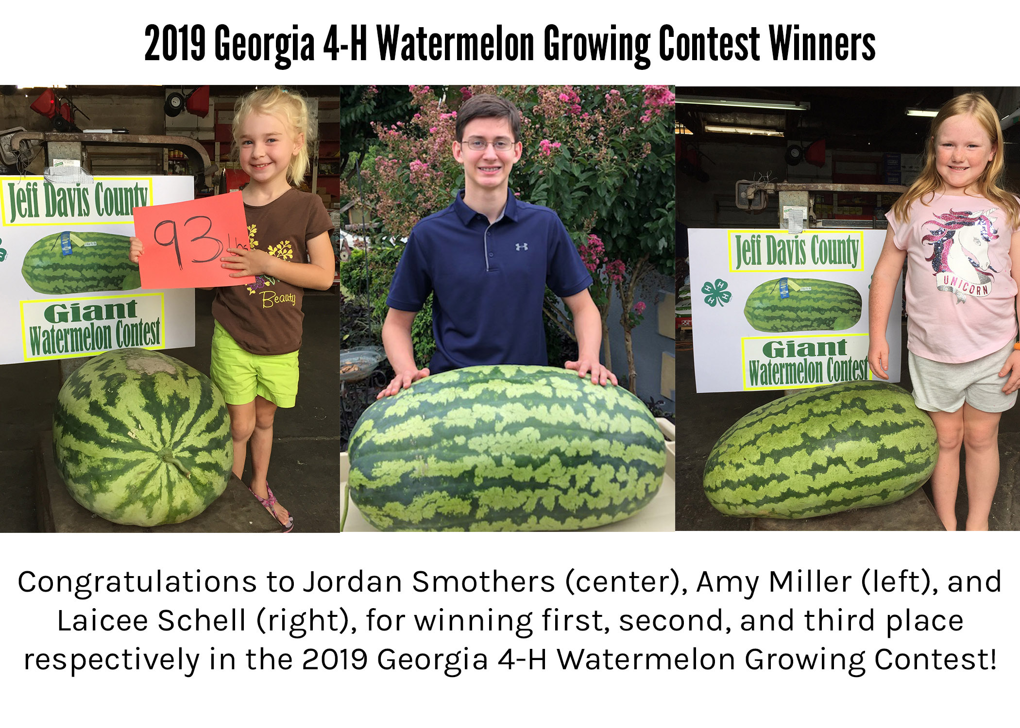 Jordan Smothers of Walton County won the 2019 Georgia 4-H Watermelon Growing Contest with his 135-pound watermelon. Amy Miller, far left, and Laicee Schell, both of Jeff Davis County, won second and third places with their 93- and 78-pound melons.