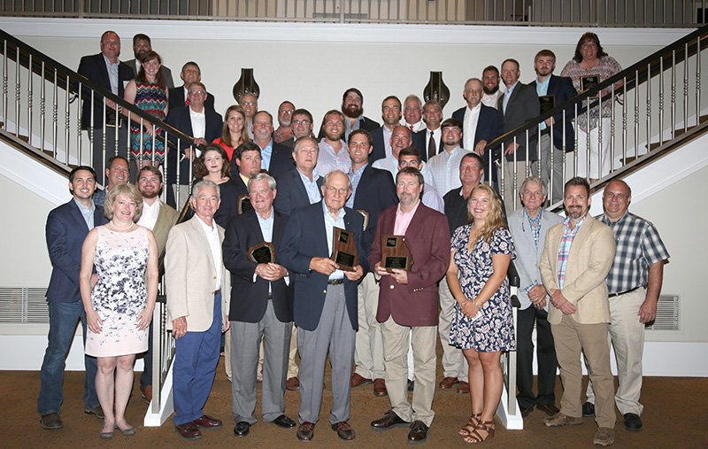 The Georgia Peanut Achievement Club honors farmers throughout the state who produced the highest yields. Pictured are the farmers, industry sponsors, UGA Peanut Team and Extension agents on August 10, 2019.
