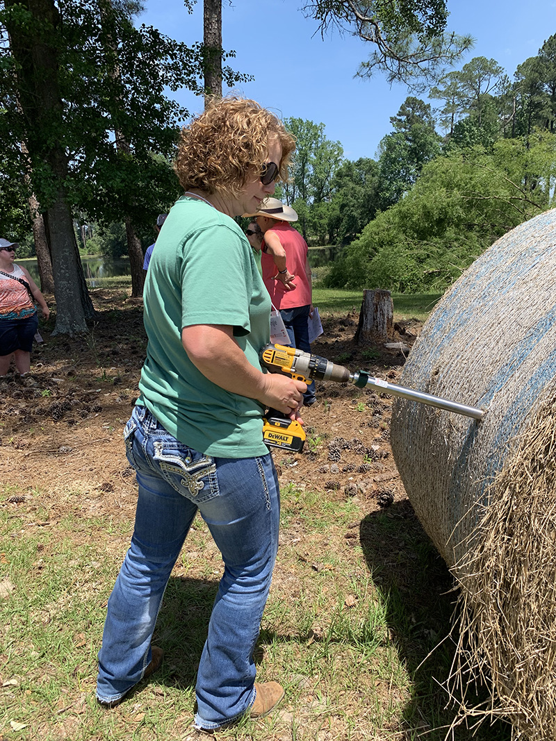 Hay sampling is an important task for any Georgia producer. Seen here is hay sampling during the Southern Women in Ag program.
