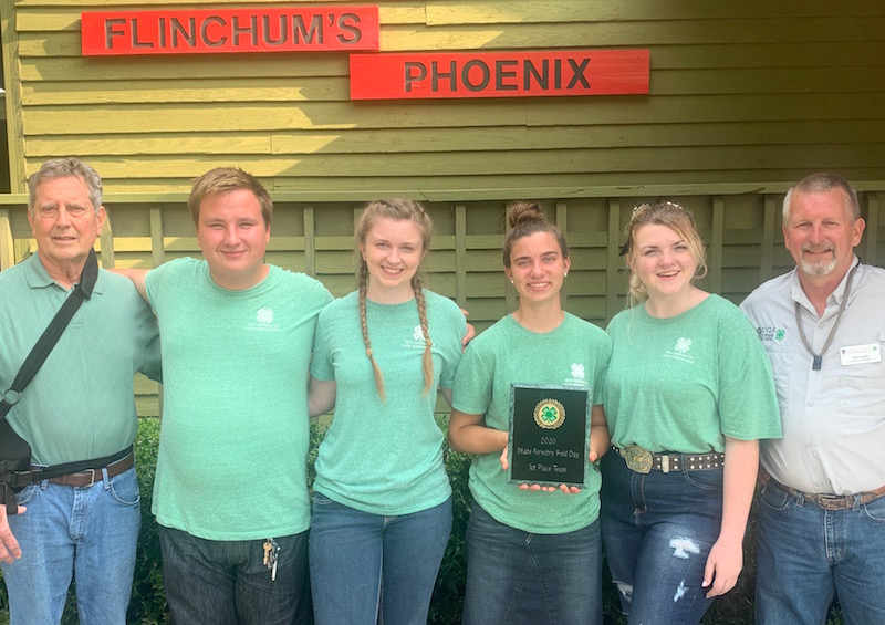 The Coweta County team won first place in the Georgia 4-H 2019 State Forestry Field Day. First Place Senior Team Winners will represent Georgia at the National 4-H Forestry Invitational in August, 2020. The Coweta County team are (pictured left to right)  Coach Don Morris, Michael Whitlock, Jennifer Brinton, Alexa Hillebrand, Bella Fisk and Coach Buzz Glover.
