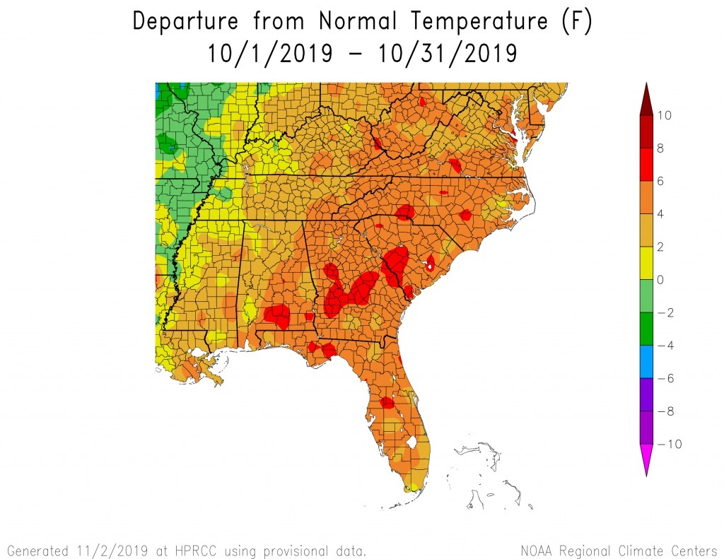 Temperatures ranged from 3 to 7 degrees above normal across Georgia during October 2019. Despite the heat, above-average rainfall helped ease drought conditions across the state.
