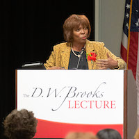 Ambassador Ertharin Cousin, 1982 graduate of the UGA School of Law and former executive director of the United Nations World Food Programme, delivers the 2019 D.W. Brooks Lecture.