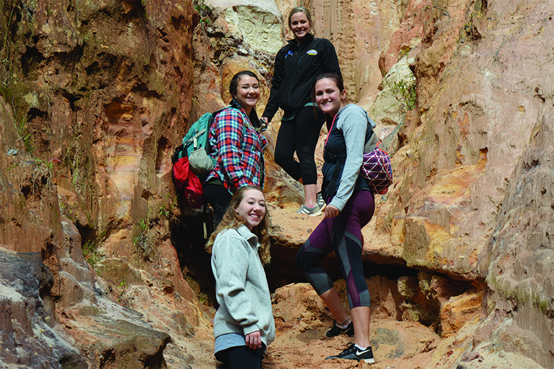 Students in Glen Harris' Soils and Hydrology class pose for a picture at Providence Canyon.