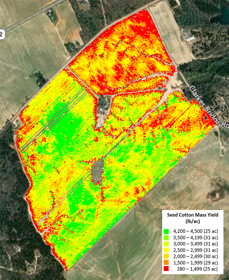 This yield map shows a field with cotton with different amounts of yields produced.