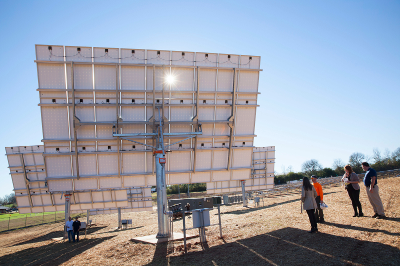 The virtual solar seminar will help Georgia landowners navigate the complex world of solar energy options. The pictured solar tracking demonstration project was established at UGA in 2015.