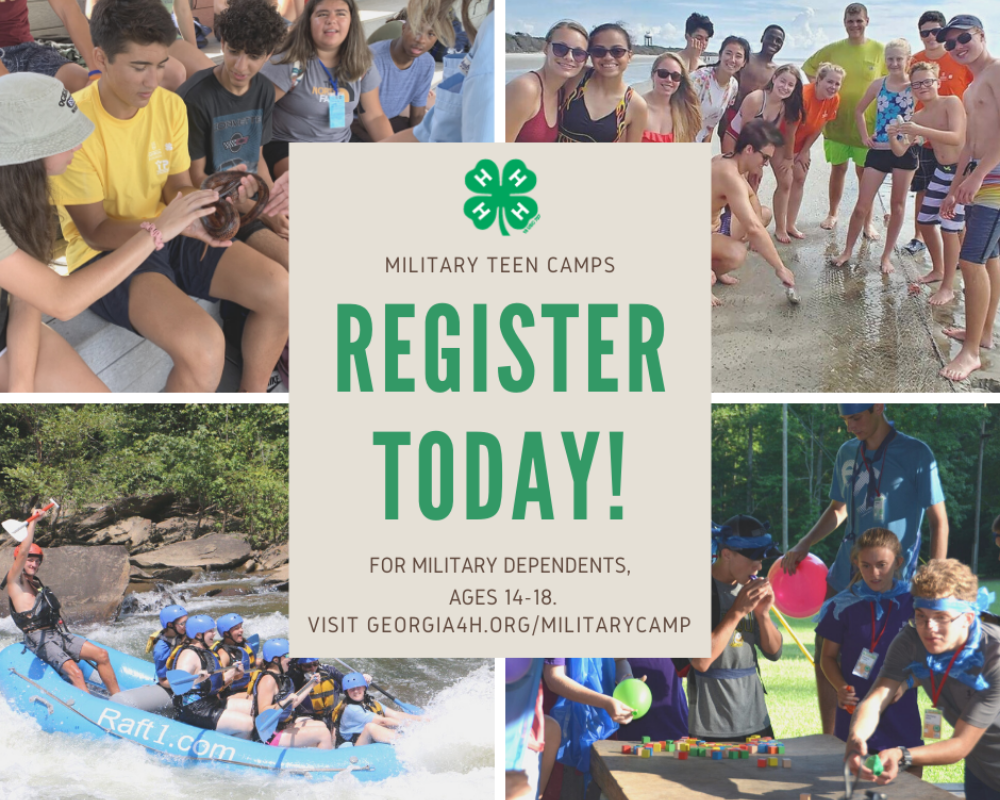 Georgia 4-H is offering two summer camps for military dependents, ages 14-18. Applications are due May 15.