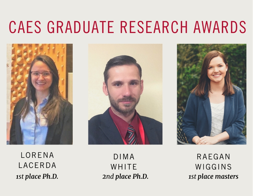 Three graduate students in the University of Georgia College of Agricultural and Environmental Sciences (CAES) were recently honored with an E. Broadus Browne Award for Outstanding Graduate Research — Lorena Lacerda, Dima White and Raegan Wiggins.