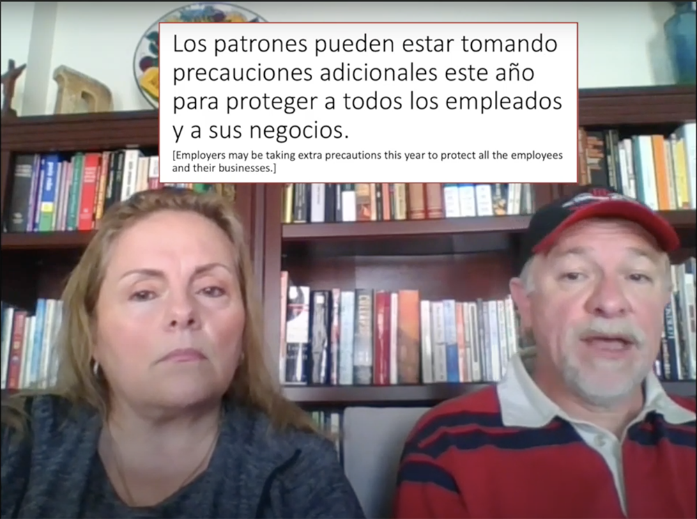 UGA Professor Francisco Diez, director of the UGA Center for Food Safety, and his wife, Claudia Buzo, a ServSafe consultant who trains Hispanic restaurant workers, translated the safety video scripts and recorded the video in Spanish.
