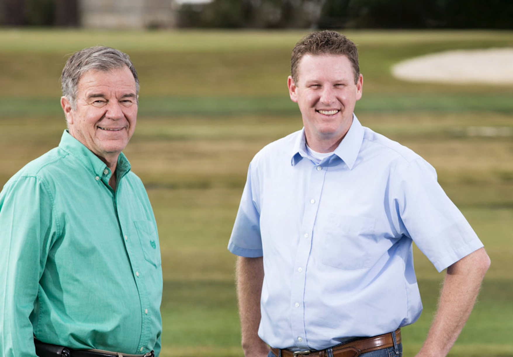 Wayne Hanna, left, and Brian Schwartz in a turfgrass research field at UGA-Tifton. (UGA photo taken by Dorothy Kozlowski/UGA in 2017)