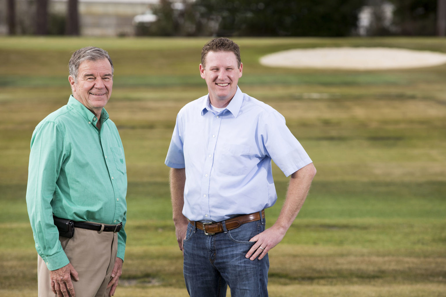 Wayne Hanna, left, and Brian Schwartz in a turfgrass research field at UGA-Tifton. (UGA photo taken by Dorothy Kozlowski/UGA in 2017)