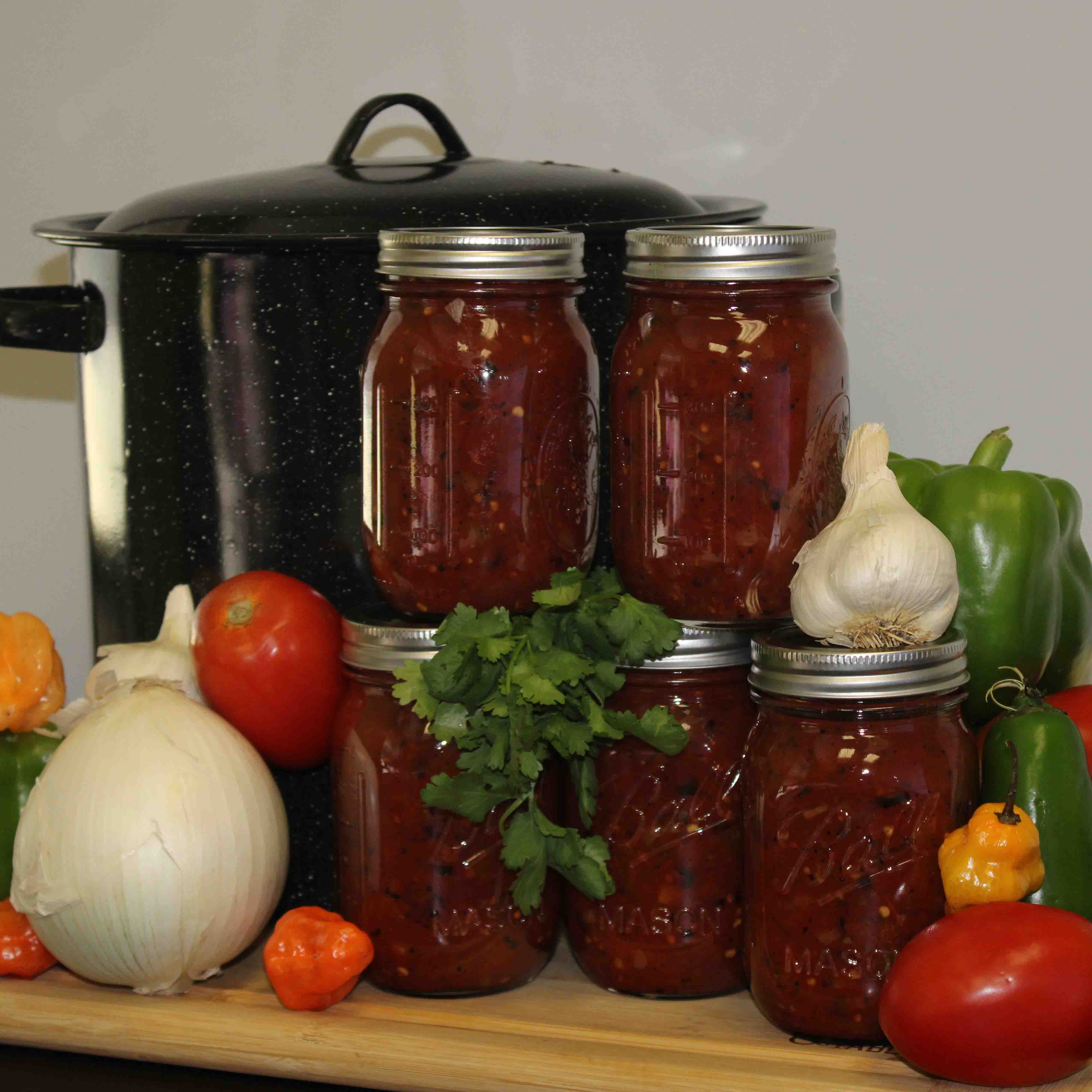Salsas are an example of an acidified food and appropriate for boiling water canning if the final pH of all components is less than 4.6. (photo by Kayla Wall)